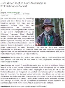 Waldliebhaber Portrait Axel Trapp Wurzeltrapp
