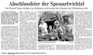 """""""Abschlussfeier der Spessartwichtel"""" Wurzeltrapp erzählt von Indianern... Erschienen August 2015 in: Gelnhäuser Neue Zeitung"""