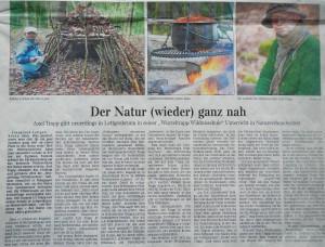 Gelnhäuser Neue Zeitung 28.03.15 - Der Natur (wieder) ganz nah - Wurzeltrapp Wildnisschule in den Medien